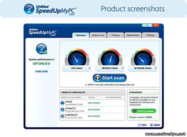 Софт. SpeedUpMyPC 2010 4.2.1.8 Rus. Просмотров: 46 Загрузок: 19 Добавил: